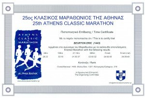 Certificat Marathon d'Athènes 04-11-2007