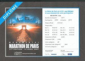 Certificat Marathon de Paris 15-04-2007