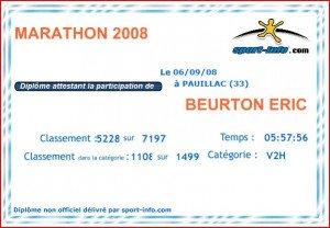 Certificat Marathon du Médoc 06-09-2008