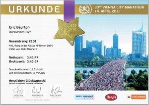 Diplôme Marathon de Vienne 14 Avril 2013