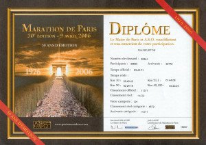 Marathon de Paris Diplôme 09-04-2006